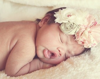Vintage Pink and Ivory Chiffon Headband, baby headbands, newborn headbands, baby flower headbands, photography prop