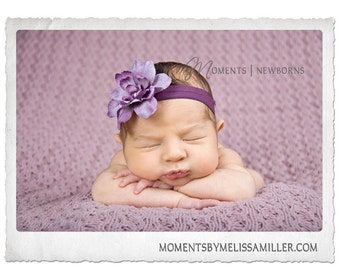 Purple Flower headband, baby headband, girls headband, newborn headband, photography prop