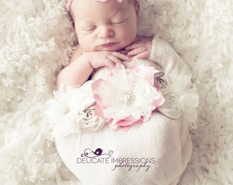 Pink Newborn Sash, Pink and Cream Maternity Sash, Belly Bands, Bridal Sashes, Wedding Sash, Newborn Sash, Photography Prop