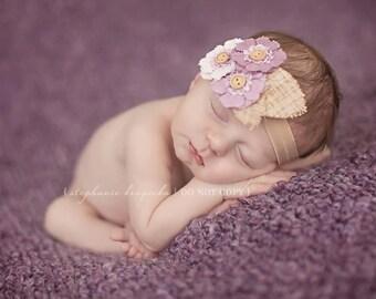 Purple Flower headband, baby flower headbands, vintage headbands, vintage baby headbands, newborn headbands, photography prop
