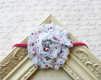 Sprinkle White Chiffon Flower headband, baby flower headbands, pink headbands, newborn headbands, photography prop