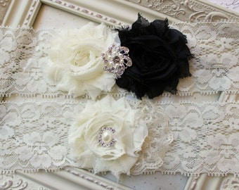 Ivory and Black Chiffon and Lace Bridal Garter Set, ivory garters, ivory bridal garters, chiffon garters, wedding garter, 2 inch lace