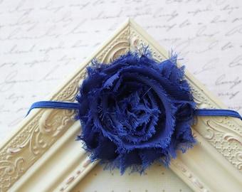Royal Blue Chiffon flower headband, baby headbands, flower headbands, newborn headbands, blue headbands, photography prop