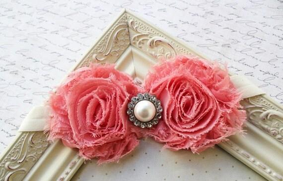 Flamingo Coral Chiffon flower headband, baby headbands, baby flower headbands, photography prop