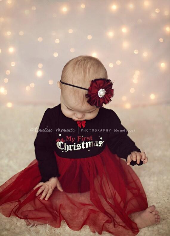 Christmas- Red Silk flower headband, baby headbands, newborn headbands, photography prop, christmas headbands