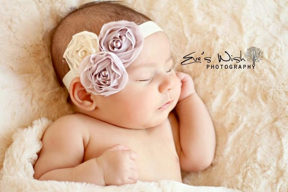 Lilac and Ivory Chiffon flower headband, baby flower headbands, purple headbands, newborn headbands, photography prop