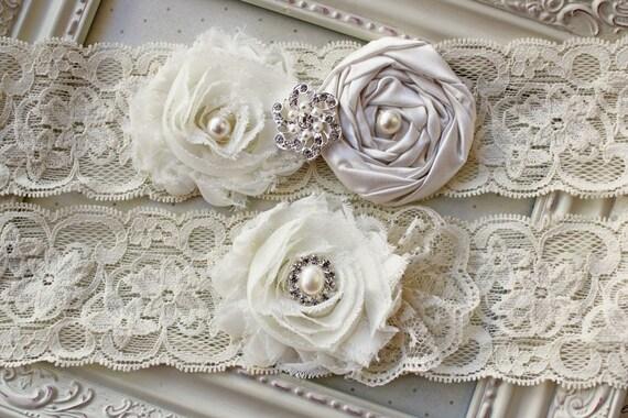 Ivory Satin and Lace Bridal Garter Set, bridal garters, wedding garters, boudoir garters, 2 inch lace
