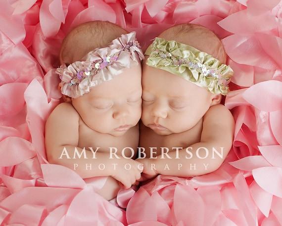 Twin Headband Set, Lavender headbands, Green headbands, baby headbands, newborn headbands, sequin headbands, photography prop