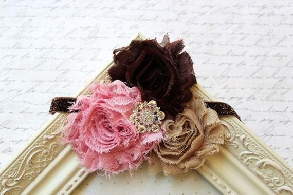 Pink Chiffon flower headband, baby headbands, brown headbands, flower headbands, newborn headbands, glitter headbands, photography prop