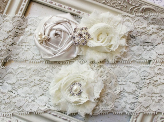 ALL IVORY Satin and Lace Bridal Garter Set, ivory bridal garters, wedding garters, ivory garters,  boudoir garters, 2 inch lace