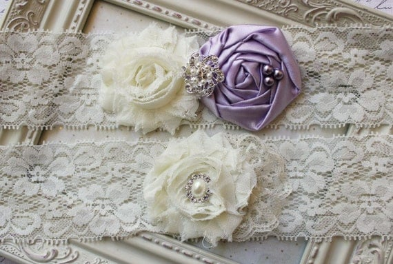 Lilac and Ivory Lace Bridal Garter Set, ivory bridal garters, ivory garters, wedding garters, boudoir garters, 2 inch lace, purple garters