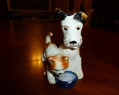 1929-1939 Dog and Cat Drinking out of a Bowl marked with a heart clover and Japan on the bottom