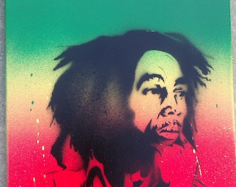 11x14 Bob Marley Original Stencil Aerosol Painting on Stretched Framed Canvas by Adam Valentino