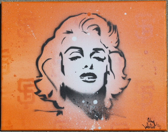 SF Giants theme Marilyn Monroe painting by Adam Valentino