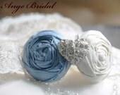 ON SALE/Baby Blue silk with Heart rhinestone Brides Garter