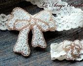 SALE- Champagne Beaded Applique Wedding Garter Set