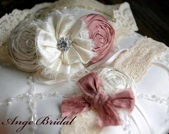 Wedding Garter Set, SILK Wedding Garter, Dusty Pink wedding Garter/ Wedding garter/ Bridal garter/ Silk garter
