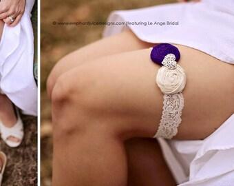 Wedding garter / Purple Garter / bridal garter / Something BLue wedding garter / vintage inspired lace garter