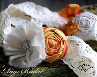 Wedding Garter Set, SILK Wedding Garter, Orange wedding Garter/ Wedding garter/ Bridal garter/ Silk garter