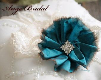 Silk Garter, Wedding garter, Bridal garter, Teal garter/ Dupioni Silk garter/ Wedding Garter