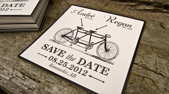 Wedding Save The Date- Rustic/ Vintage Bike Post Card