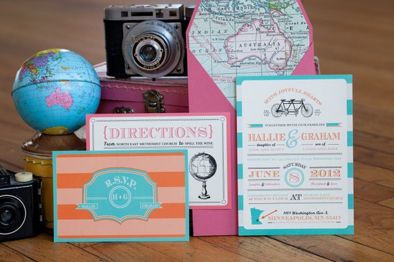 Travel Themed Wedding Invitation