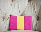 SALE: Pink, Yellow Stripe Linen Pouch/Clutch/Ready to Ship