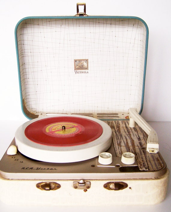Vintage 1950s RCA Victrola Kid's Portable Record Player with Aqua Trim and One Red Record