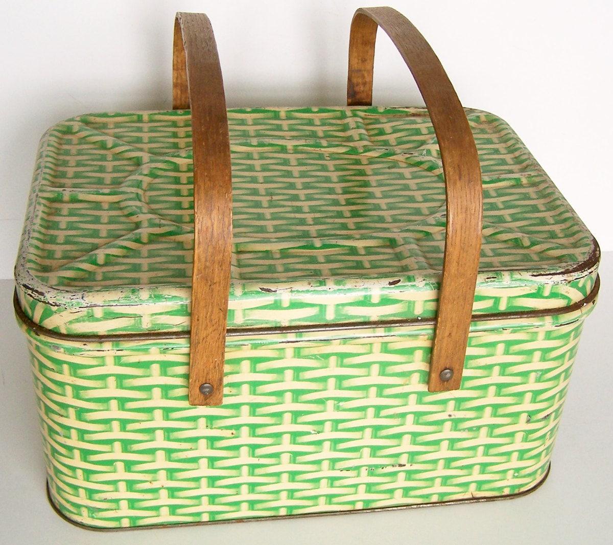 Basket Weaving Peterborough : Vintage metal picnic basket woman sex