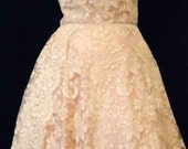 Reserved for P. Bos -Vintage 1950's tea length cocktail dress- .beige lace