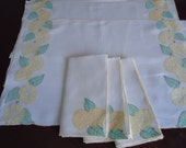 Marghab linen appliqued placemats with napkins - Morning Glory pattern - yellow, set of 3