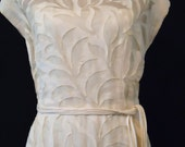 Reserved for clancyslover - Vintage 1950's  dress designed by Paul Parnes in ivory linen and organdy
