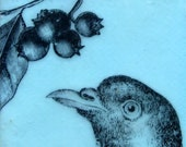 Original Encaustic Painting Light Blue Bird and Berries