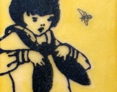 Encaustic Painting- Girl with Yellow Bee