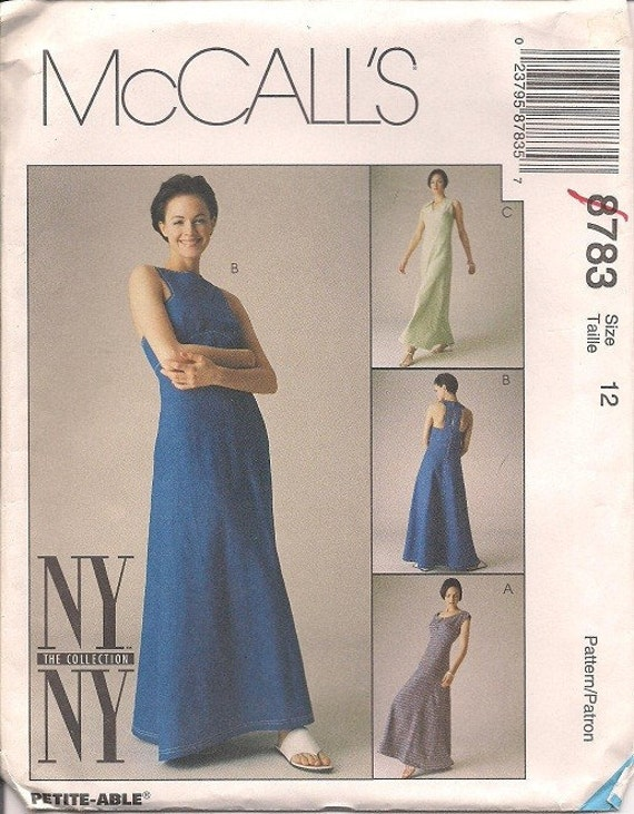 Misses'  Dress Pattern McCall's 8783 Size 12 Evening Gown Length