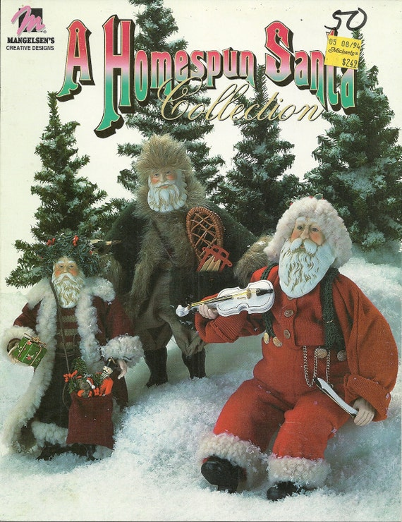 "Santa Claus Doll Pattern Homespun Santa Collection 10"", 13"" and 18"""