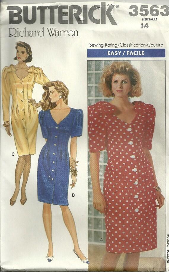 Misses' or Petite Dress Pattern Butterick 3563 Size 14
