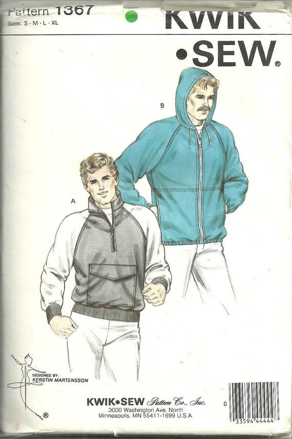 Raglan Sleeved Jacket  Pattern Size Mens S M L XL Kwik Sew 1367