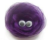 Fabric brooch pin with eyes vilolet - vilet brooch - fabric flower brooch - brooch with eyes - halloween brooch