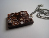 SALE on jewelry Sets  - Brown Mod Pendant and Earrings, Plus Free Chain