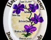 Hand Painted 10th Anniversary Family Tree Plate- Item PL-A-018
