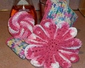 Dishcloths and Scubbie Set - THINK PINK Spring Flowers - Hand Crocheted 4 Item Set