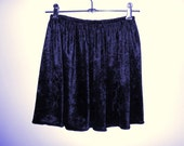 Velvet navy high waisted skirt