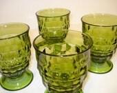 Vintage Green Whitehall Juice Glasses