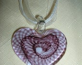 Valentine Necklace   Glass Design Heart Pendant on ribbon necklace