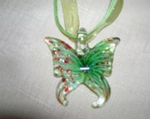 Butterfly Glass Slider Pendant lime green multi colored accents.