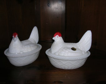 SALE   Vintage Milk Glass Hens Chickens Westmoreland Glass set of 2
