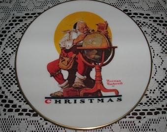 SALE      Norman Rockwell Christmas Plate 1978  Gorham FIne China  USA   Planning Christmas Visits