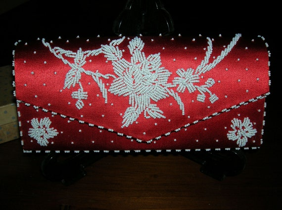 Purse  Red Silk with White beading
