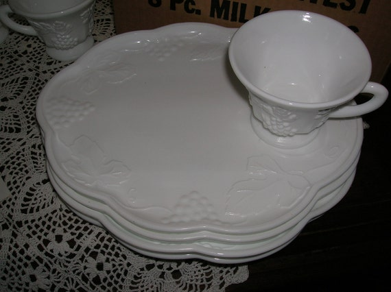 Set for  8  Milk Glass Snack Sets  8 Plates and 8 Cups    Bridal shower  Actual 2 boxes of 4 sets each